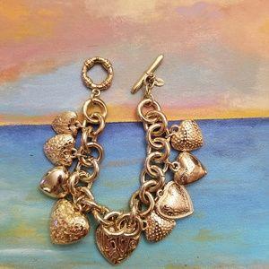 Jewelry - Fun & Fabulous Gold Heart charm bracelet! **BOGO**